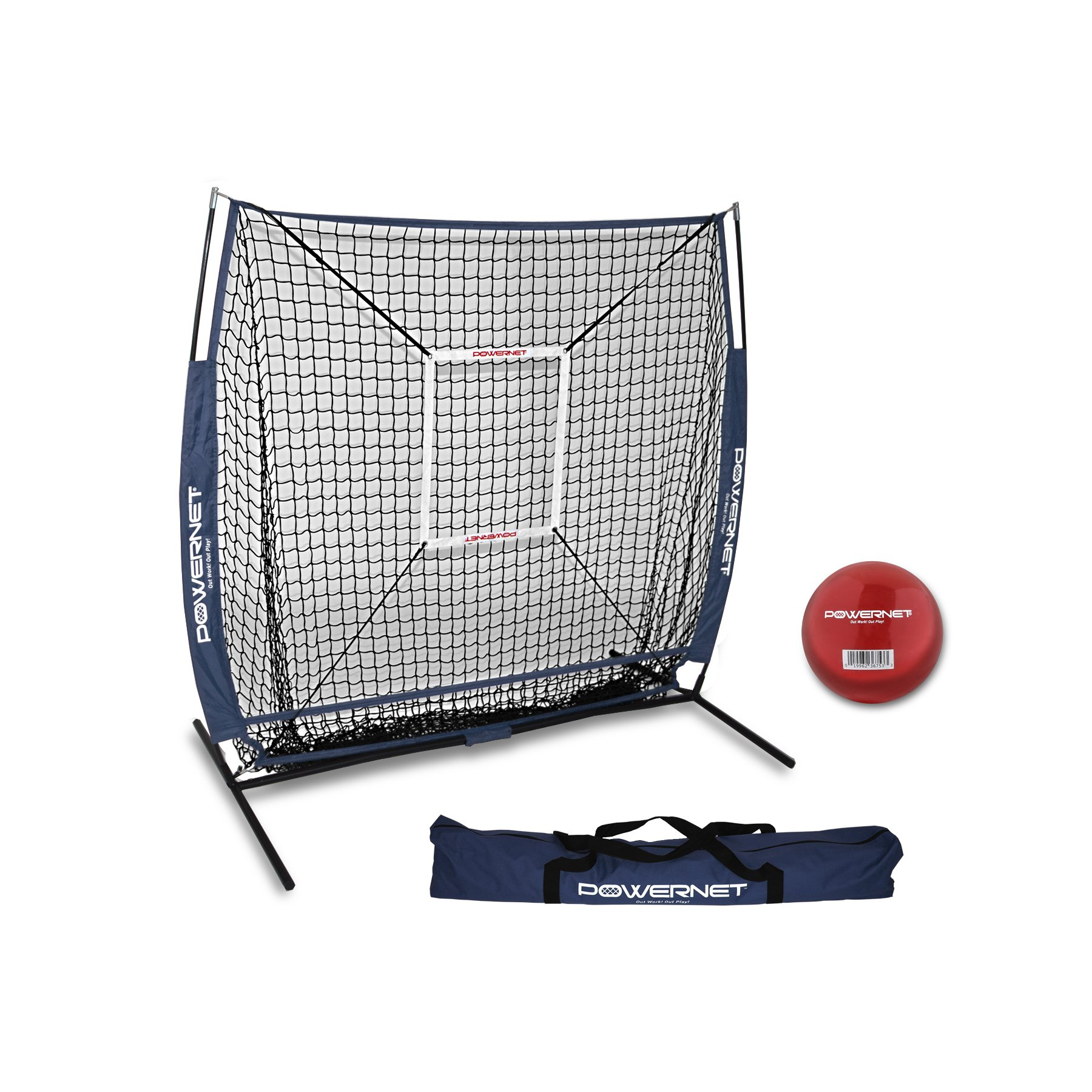 PowerNet 5x5 Practice Net + Strike Zone + Weighted Training Ball Bundle (Navy) | Baseball Softball Coaching Aid | Compact Lightweight Ultra Portable | Team Color | Batting Screen by PowerNet