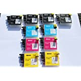 10 (2 FULL SETS + 2 EXTRA BLACK) COMPATIBLE INK CARTRIDGES LC985 BY FOR BROTHER PRINTERS DCP-J125 DCP-J315W CDP-J515W MFC-J265W MFC-J410 MFC-J415W MFC-J220 LC985BK LC985C LC985M LC985Y LC 985 BLACK CYAN MAGENTA YELLOW Supplied by Delcomcomputers & Wantmoreink