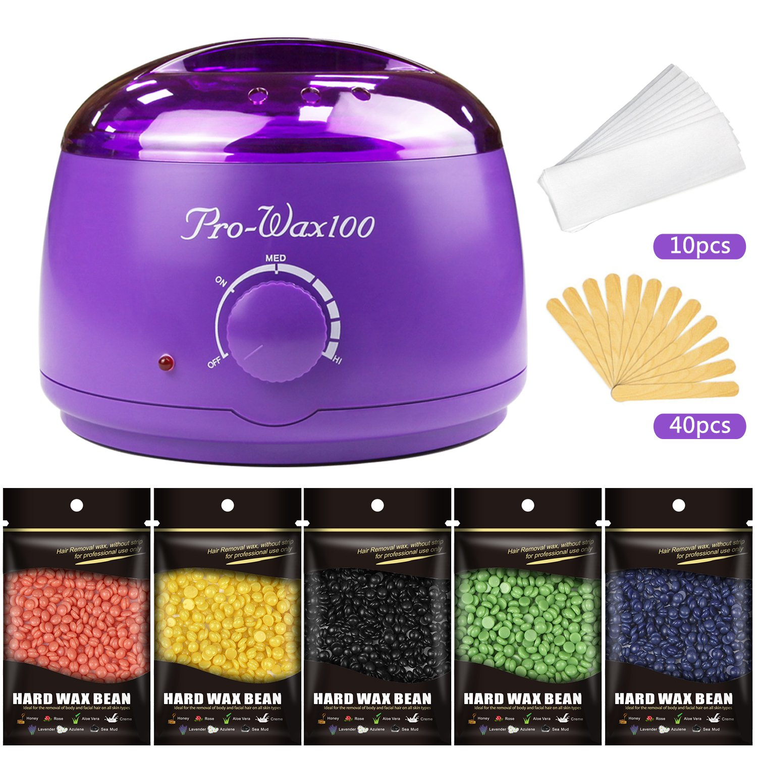 Hair Removal Wax Warmer Kit with 5 Flavors Hard Wax Beans and Wax Applicator Sticks By Mibote
