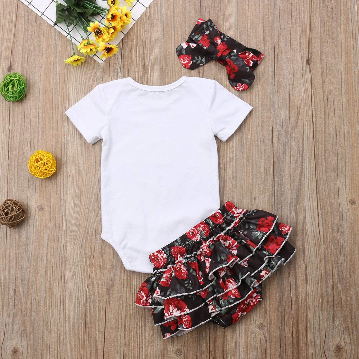 Infant Baby Girl Floral Clothes Short Sleeve Letters Bodysuit Romper Tops Ruffle Bowknot Shorts Bloomers 3Pcs Summer Outfits