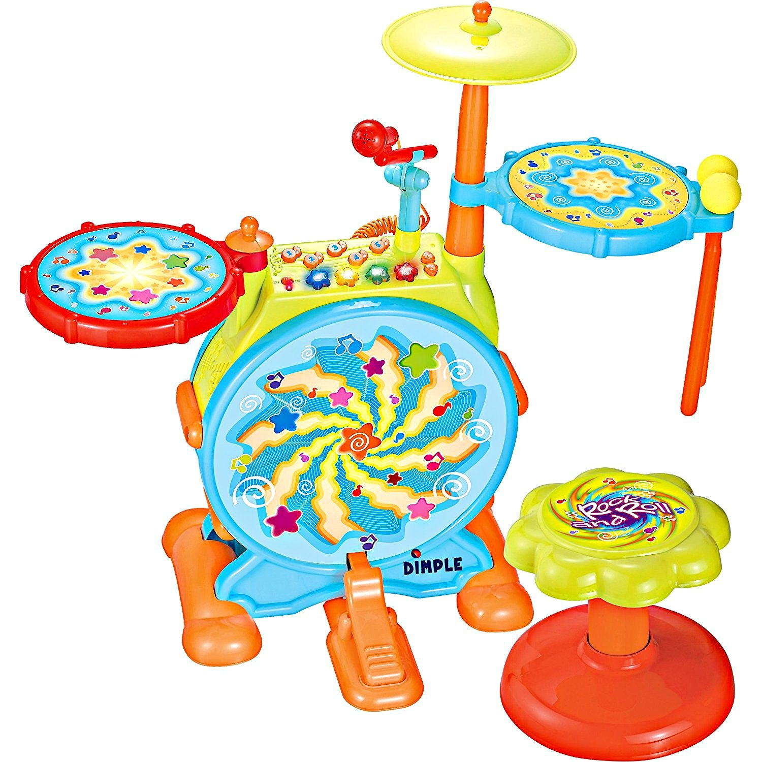 Dimple Electric Big Toy Drum Set for Kids with Movable Working Microphone to Sing and a Chair - Tons of Various Functions and Activity, Bass Drum and Pedal with Drum Sticks (Adjustable Volume) by Dimple