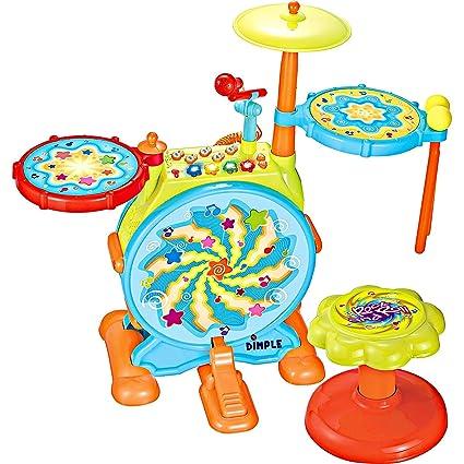 Amazon.com: Kids Big Toy Drum Set eléctrico con silla, Pedal ...