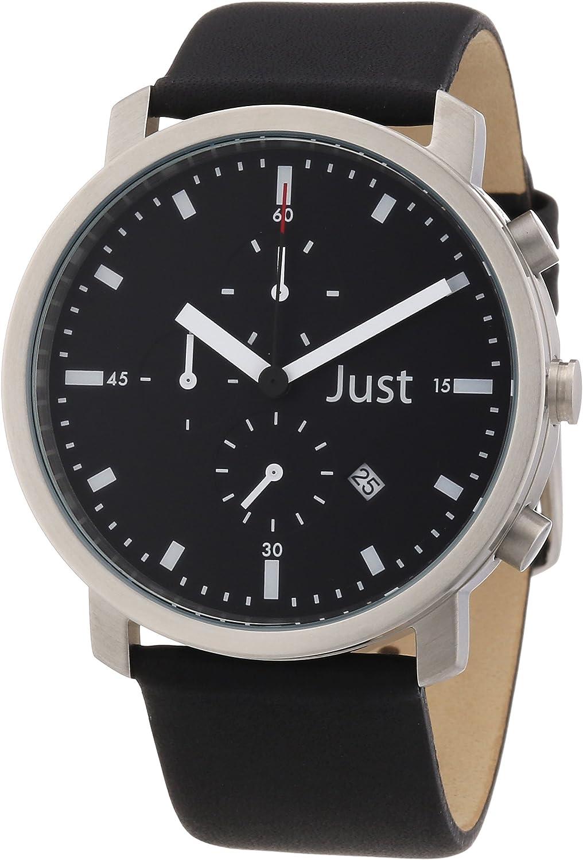 Just Watches 48-S3195-BK - Reloj analógico de cuarzo unisex, correa de cuero color negro (cronómetro)