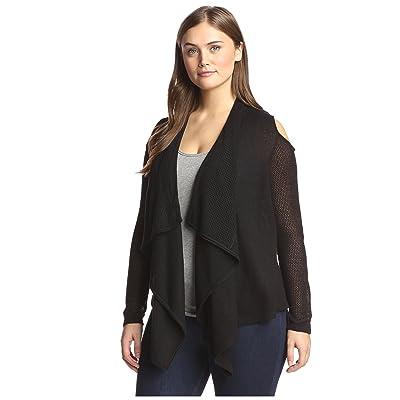Acrobat Plus Women's Drape Front Cardigan, Black, 1X at Amazon Women's Clothing store