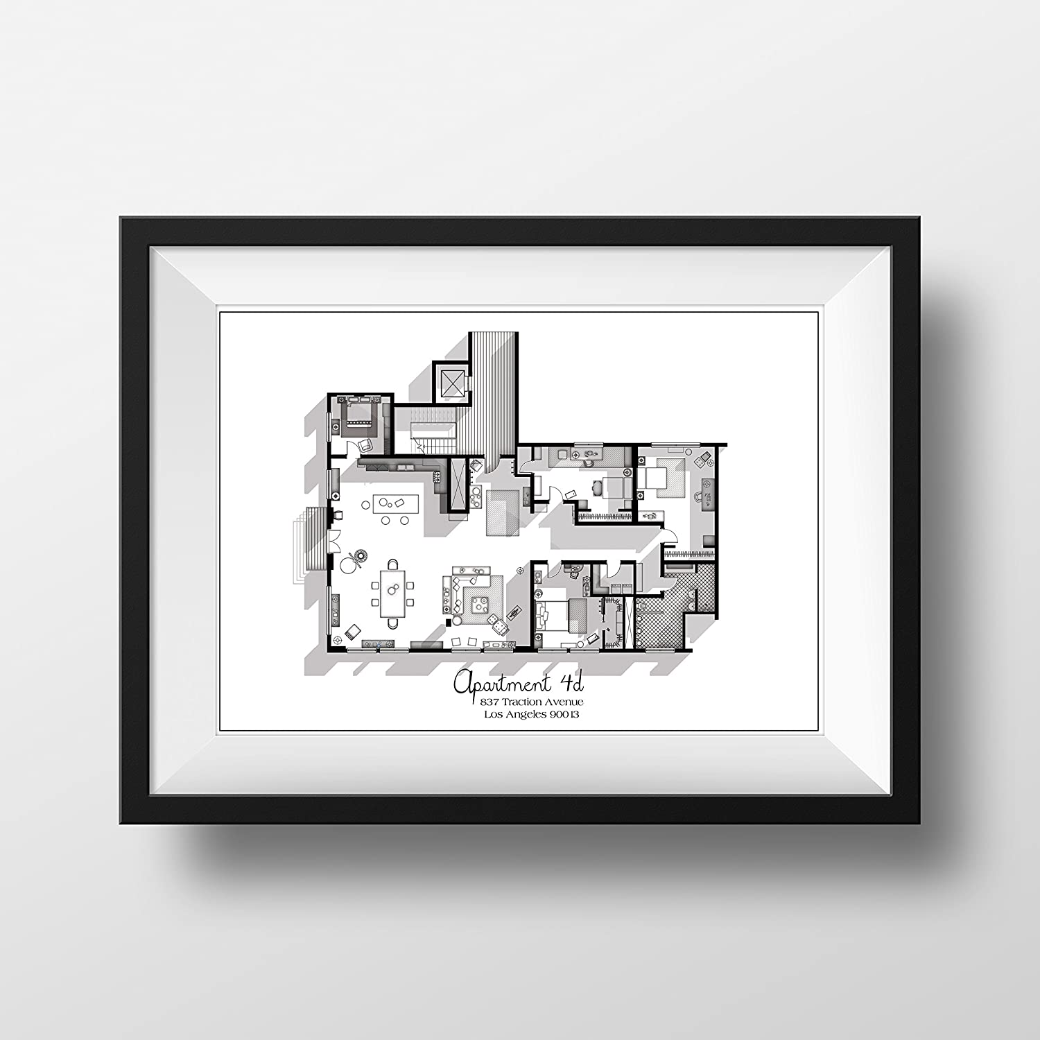 New Girl TV Show Apartment Floor Plan - Black and White Edition- New Girl TV Show Layout - Apartment 4D Floor Plan - New Girl Poster - Gift Idea for New Girl Fan