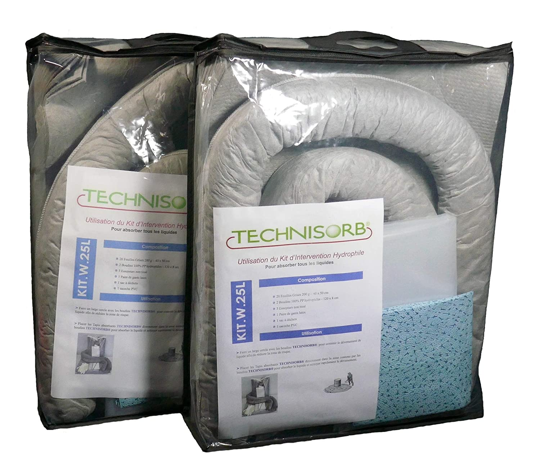 Kit absorbente de intervención universal para absorción de 25 litros para todo tipo de líquido, en una bolsa compacta, portátil, fácil de usar, gris, 1