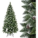 FAIRYTREES Weihnachtsbaum künstlich SLIM, Kiefer Natur-Weiss beschneit, Material PVC, echte Tannenzapfen, inkl. Metallständer, 180cm