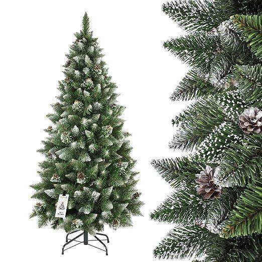 363 opinioni per FAIRYTREES Albero di Natale artificiale SLIM, Pino innevato bianco naturale,