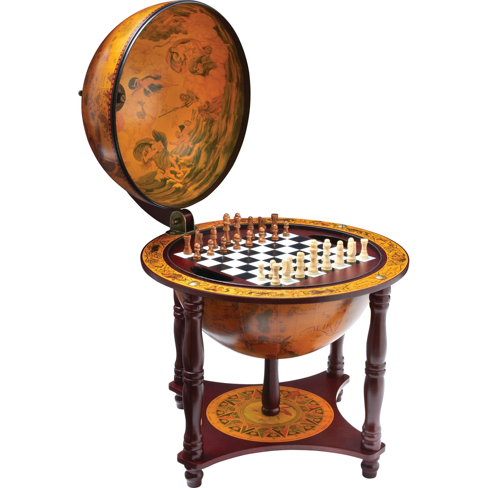 "Kassel 13"" Diameter Globe with 57pc Chess and Checkers Set"