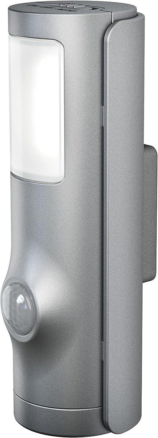 Osram Veilleuse Torche Led Nightlux Torch Gris Alu Capteur De Mouvement Et De Luminosité Intégrés Fonctionne à Pile Etanche Ip54 Blanc
