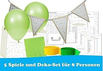 Babyparty Spiele Und Deko Set Happybaby Grun 5 Spiele Und