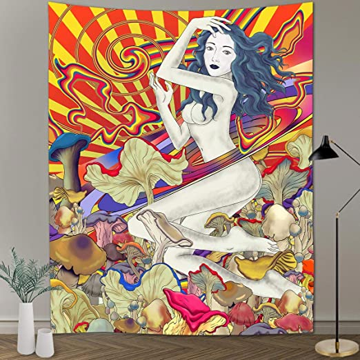 FEASRT Psychedelic Hippie Mushroom Tapestry Retro Abstract Naked Girl Character Art Tapestry Wall Hanging Tapestries 60x80inch Abstract Trippy Tapestry for Living Room Dorm Decor GTYYAY44