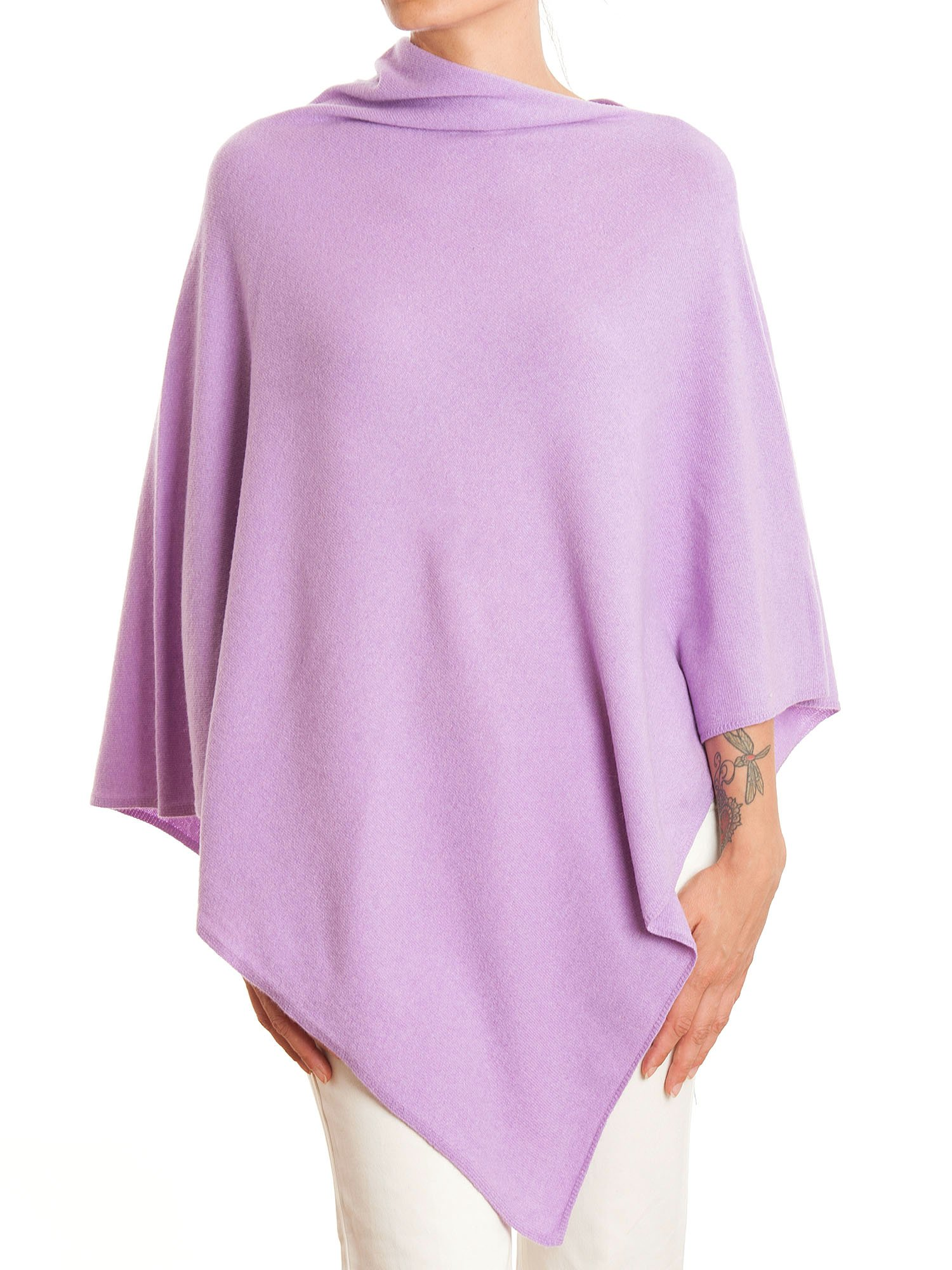 DALLE PIANE CASHMERE - Poncho Cashmere Blend - Made in Italy, Color: Lilac, One Size