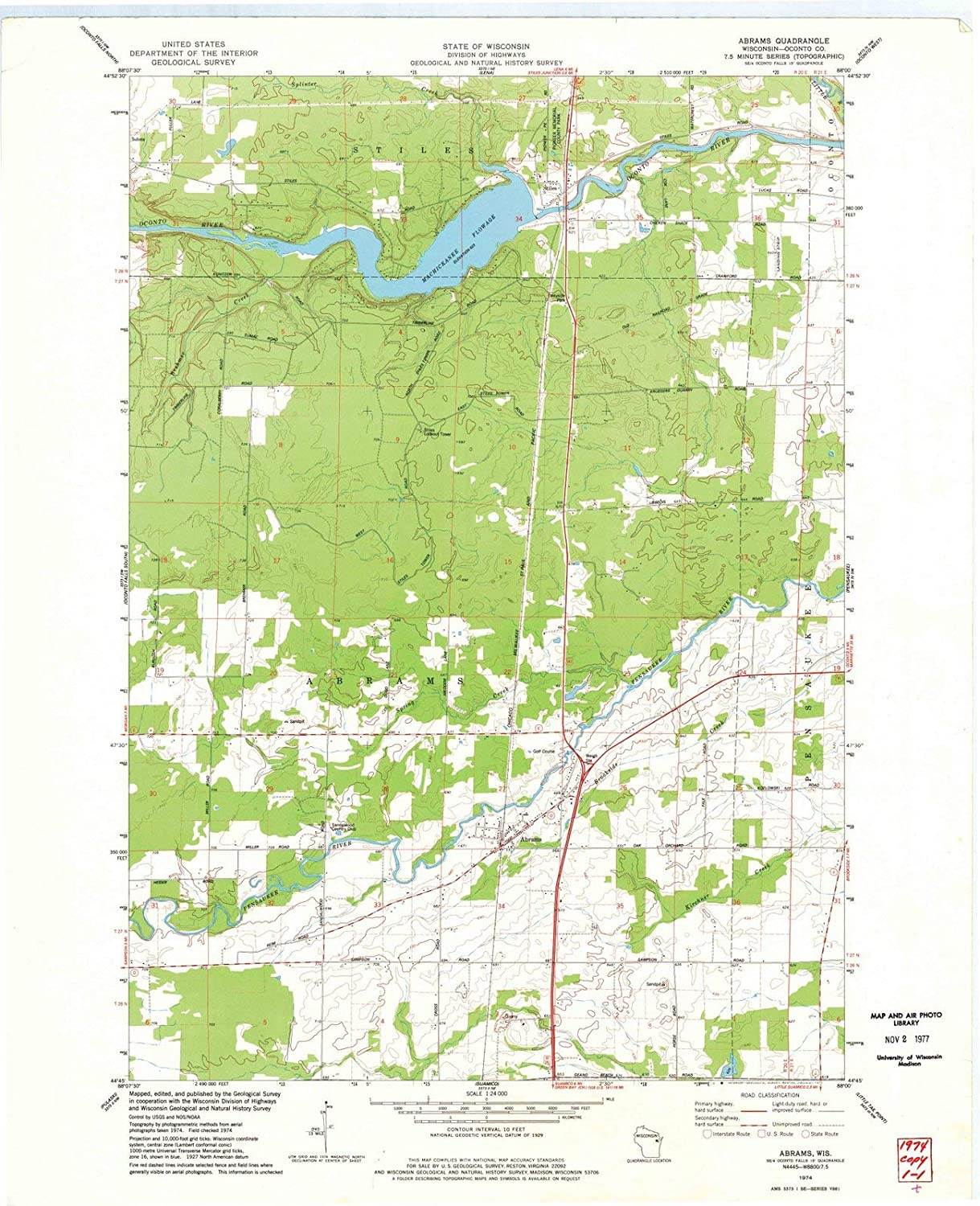 Amazon.com: Wisconsin Maps | 1974 Abrams, WI USGS Historical