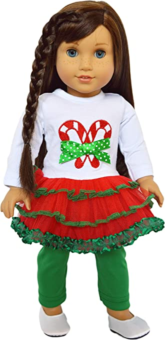 Santa Top Leggings with Tutu For 18 in American Girl Doll Clothes