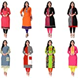 Kesari King Women's A-Line Pack Of 8 Cotton Printed Semi Stiched Kurti Material(1002,3,15,17,79,80,81,82)
