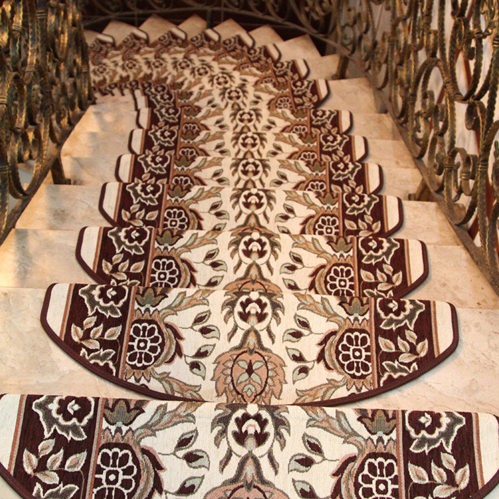 yazi Premium Non-Skid Carpet Stair Treads/Runner Rugs Mats Non-Skid Stair Carpet Step Rugs,9.5x29.5,Coffe Color Pack of 13 happyness2014 B01080