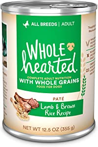 WholeHearted Lamb & Brown Rice Recipe Pate with Whole Grains Wet Dog Food, 12.5 oz., Case of 12, 12 X 12.5 OZ