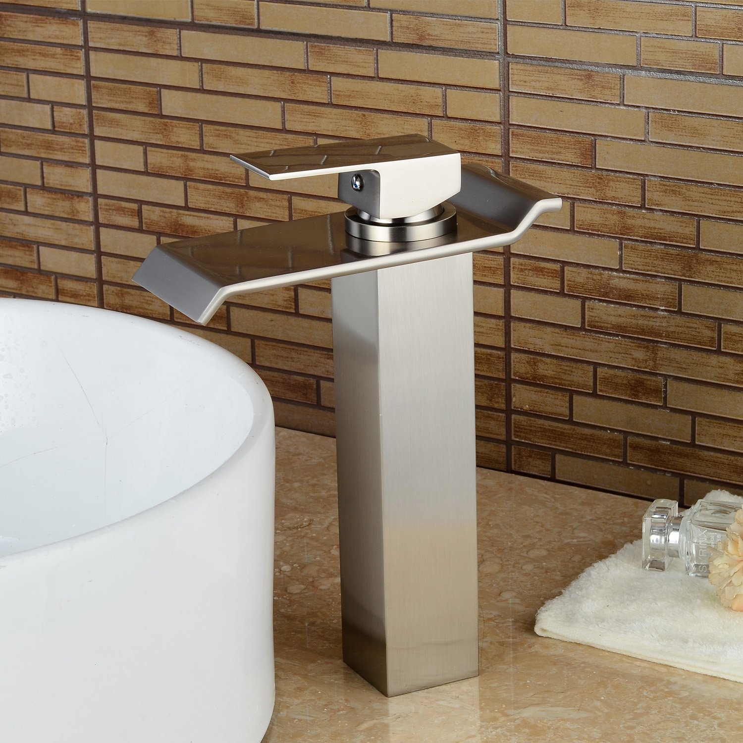 Lightinthebox Contemporary One Handle Deck Mount Solid Brass Widespread Waterfall Bathroom Sink Faucet Brush Nickel Finish Tall Spout Bath Basin Faucet NEW