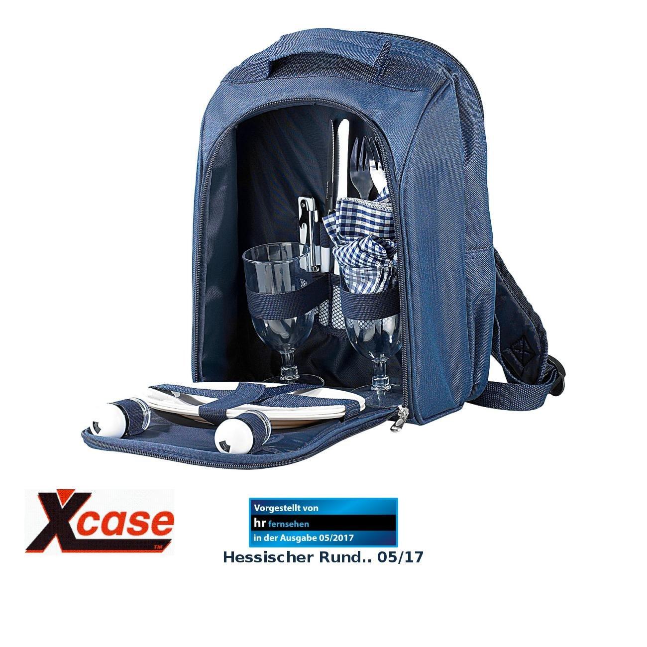 Xcase Thermo-Picknickrucksack mit Kühlfach, bestückt für 2 Personen