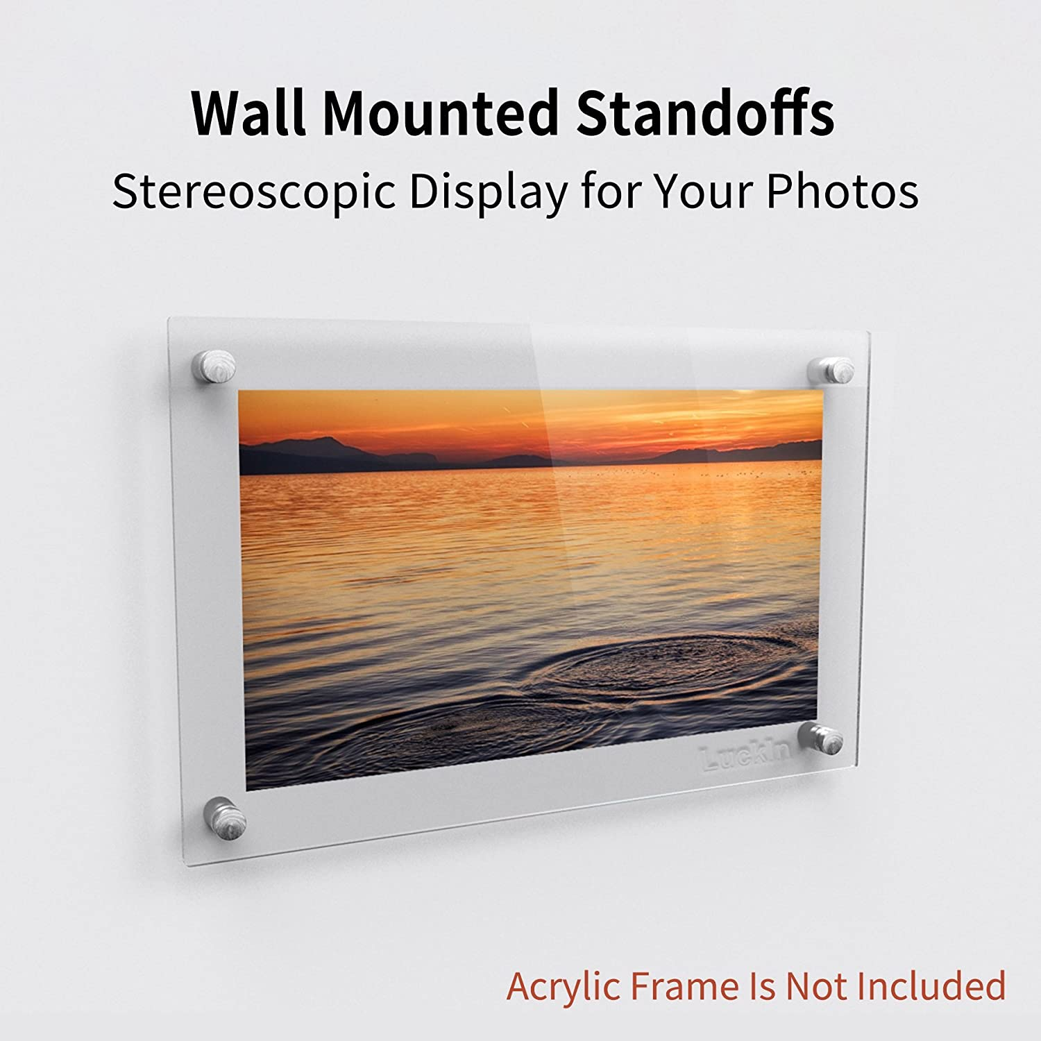 Plexiglass Picture Acrylic Standoff Mounting Hardware LuckIn 20-Pack Sign Standoff Screws 5//8 x 1 5//8 in Stainless Steel Standoffs for Glass Panel