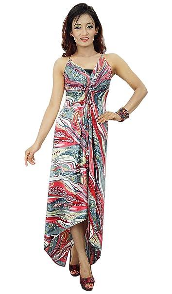 Maxi mangas Asimétrico Vestido Poli gitana satén de las mujeres ropa de playa ropa