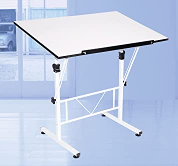 Art/drawing/craft Table, White, Tilt And Height Adjustable