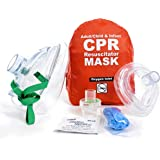 WNL Products Adult/Child & Infant Pocket CPR Rescue Resuscitation Mask Kit with One Way Valve and Belt Clip in Soft Red…