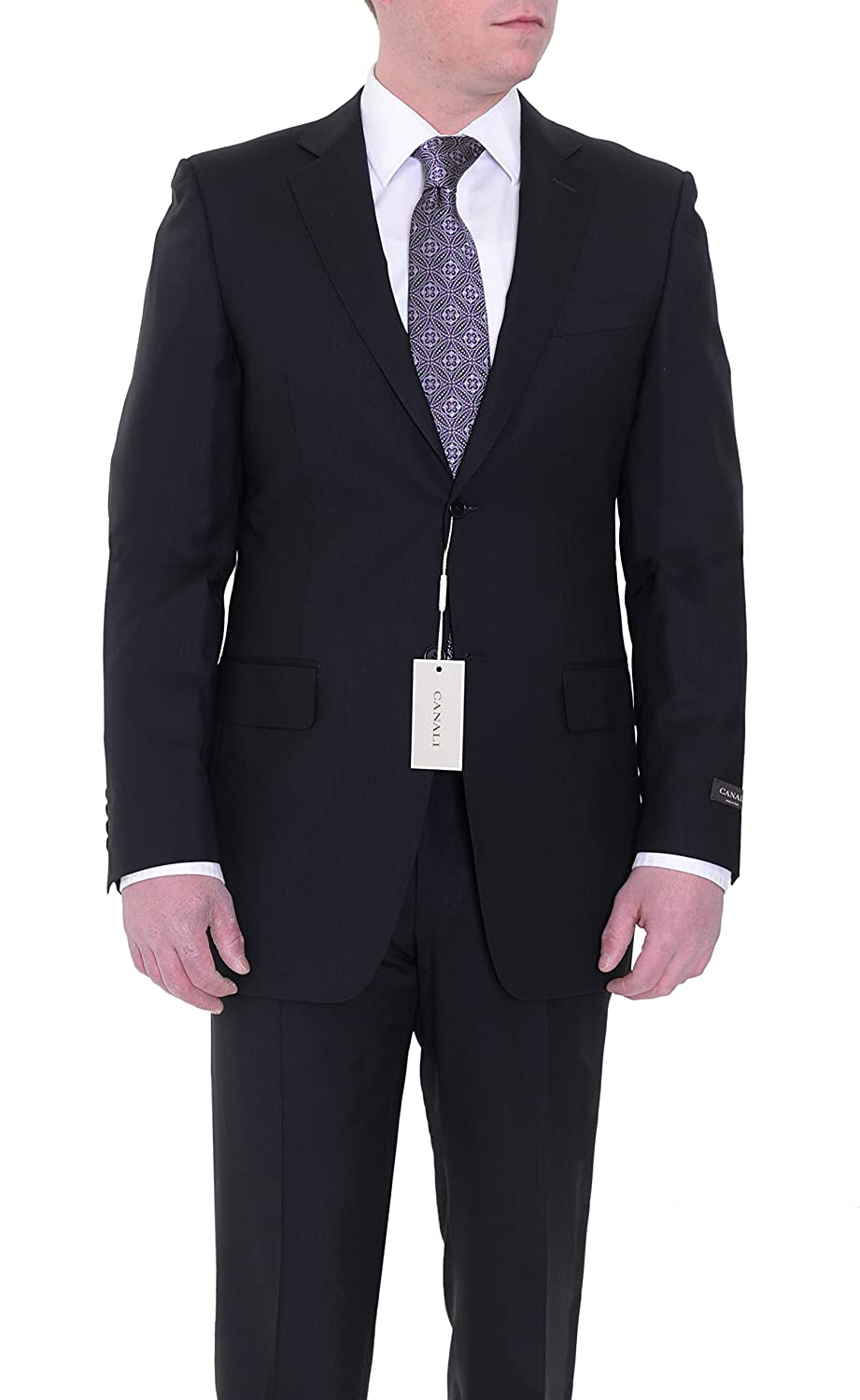 639abc6396e Canali Drop 8 Slim Fit 38L 48T Black Striped Two Button Wool Suit at Amazon  Men's Clothing store: