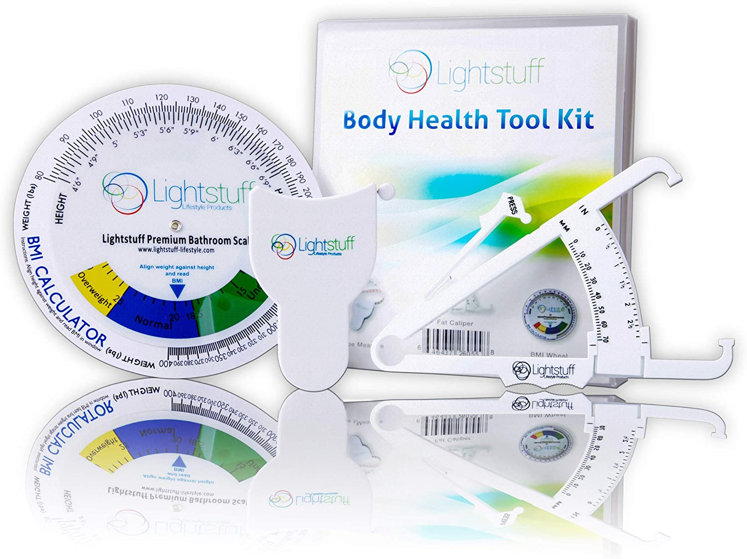 Filfeel Body Tape Measure Fat Caliper Set Tester Body Mass Index Round Fat Measurement Retractable Fitness Measuring Tape for Body
