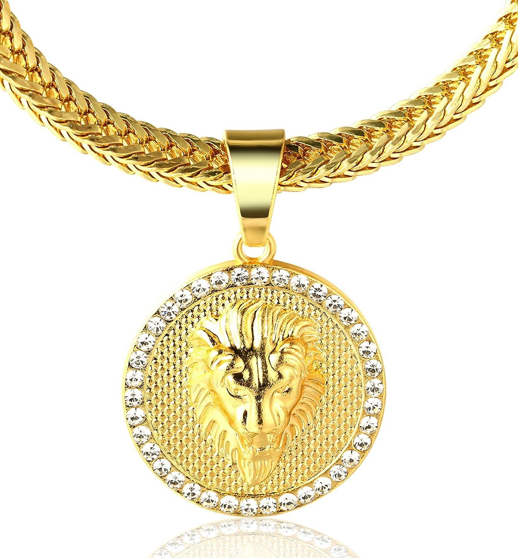 Halukakah ● Kings Landing ● Collar con colgante de león chapado en oro real de 18 quilates, con cadena de cola de tiburón gratuita de 30 pulgadas