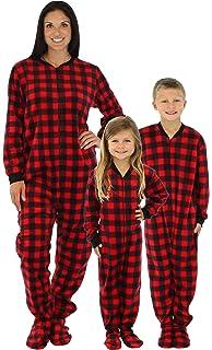 4673f52a95 SleepytimePjs Family Matching Red Plaid Fleece Onesie PJs Footed Pajama