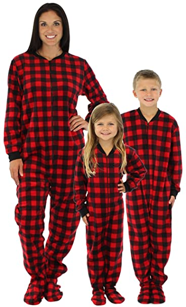 SleepytimePjs Family Matching Red Plaid Fleece Footed Pajamas  (STM17-PLA-K-2T c314d66bf