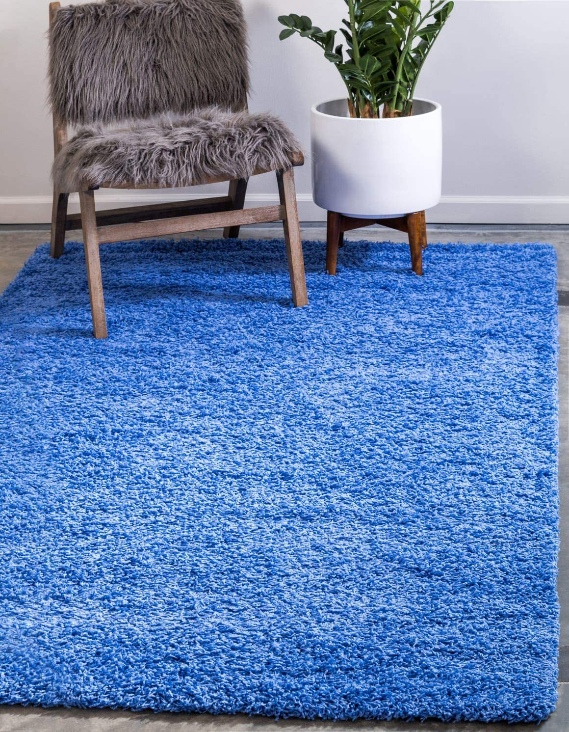Unique Loom Solo Solid Shag Collection Modern Plush Periwinkle Blue Area Rug (7' 0 x 10' 0)