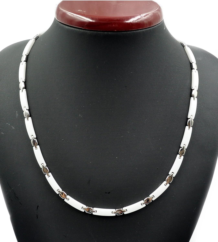 Edelstahl Kette mit Keramik Anhänger Halskette silber bicolor weiß Keramikkette
