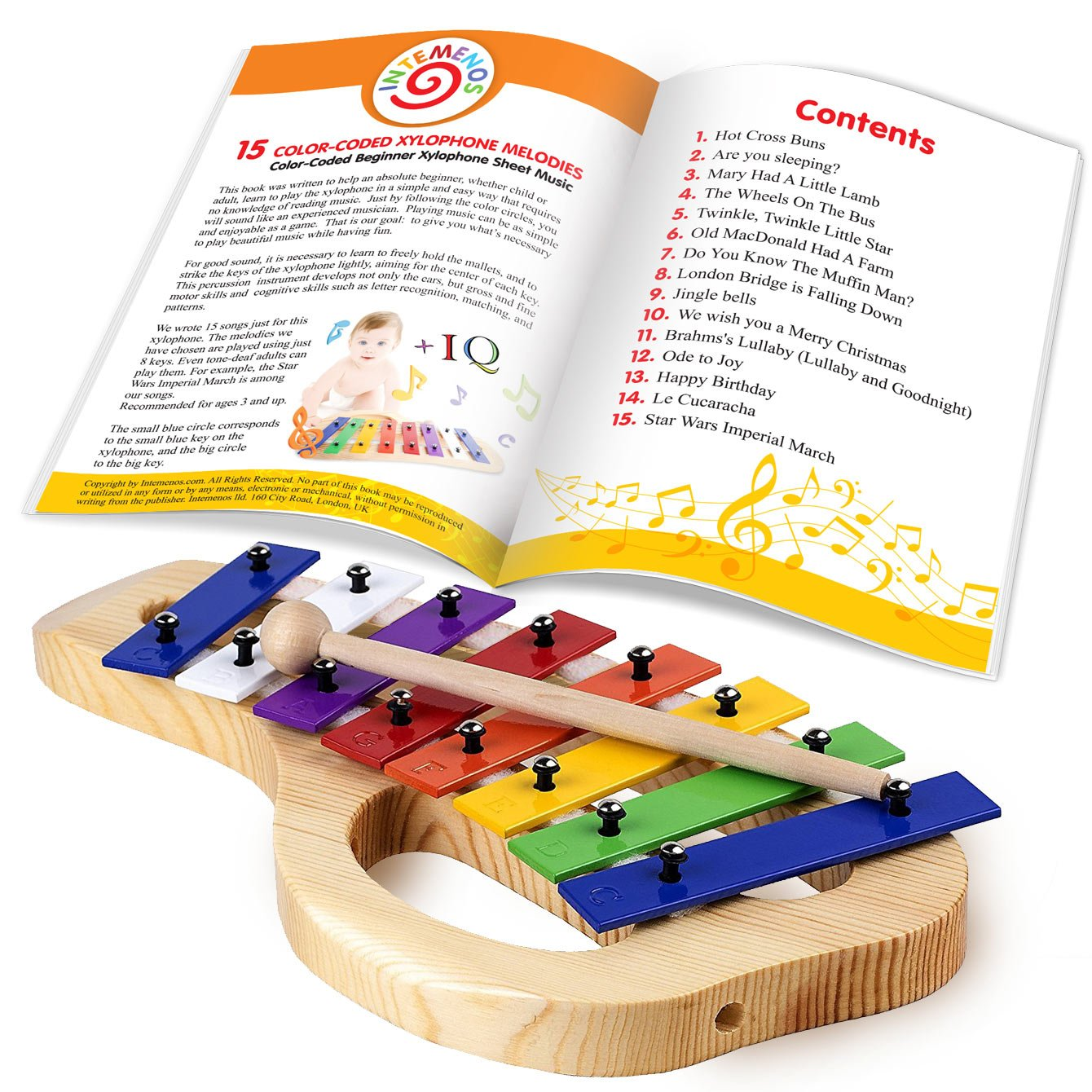 Xylophone For Children 15 Color Coded Song Sheet Music E Book For