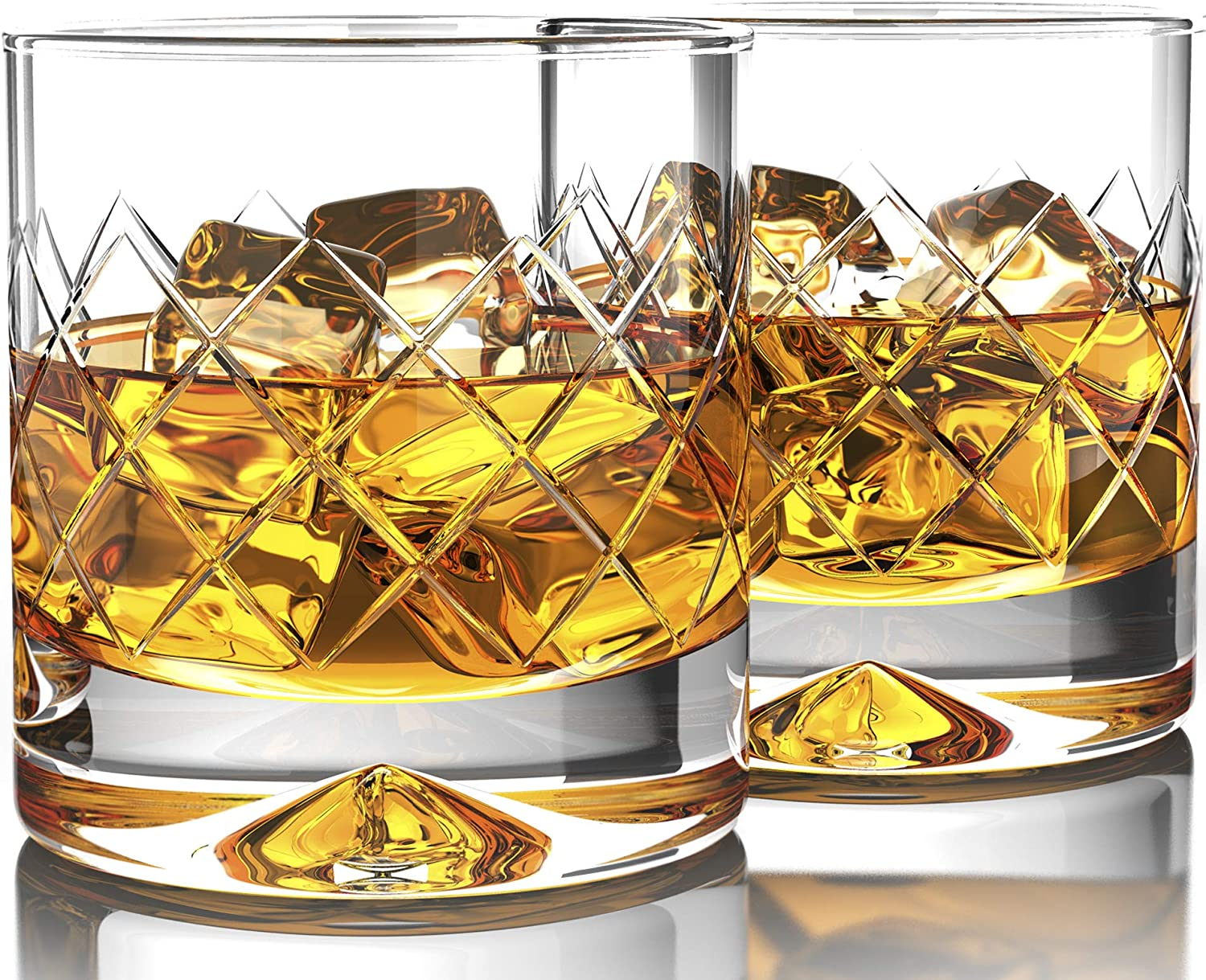 Amazon Com Mofado Crystal Whiskey Glasses Diamondetch 12oz Set Of 2 Hand Blown Crystal Thick Weighted Bottom Rocks Glasses Old Fashioned Glasses