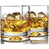 MOFADO Crystal Whiskey Glasses - DiamondEtch - 12oz (Set of 2) - Hand Blown Crystal - Thick Weighted Bottom Rocks…