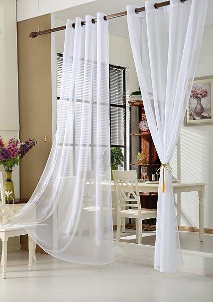 2er Set Fenster Vorhang Ösenschal Gardinen Stores Weiß Transparent 3 Größen Deko