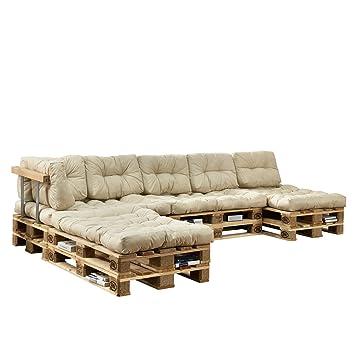 [en.casa] Cojines para sofá de palés europalés - set - 4 cojines de asiento + 6 cojines de respaldo beige - muebles DIY - ideal para salón - sala de ...