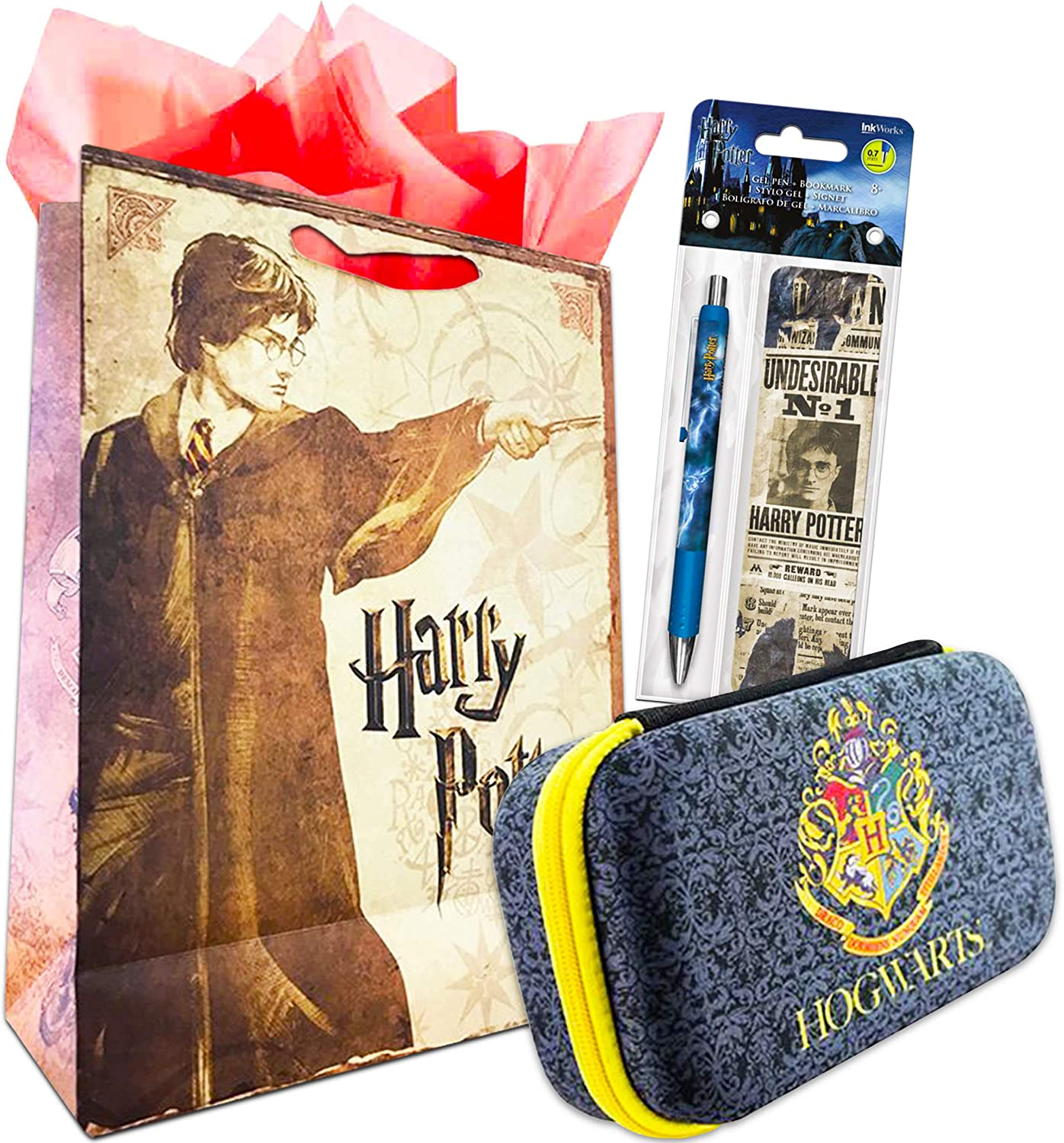 Harry Potter Pencil Case School Supplies Set ~ Deluxe Harry Potter Pencil Holder Box with Premium Gel Pen, Bookmark, and Gift Bag Bundle | Office Supplies | Gifts | Harry Potter Merchandise