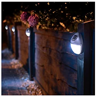 8 Solar Betriebene Led Zaun Leuchten Aussen Wand Garten Weg Tur