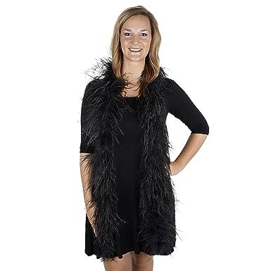 3139e8dc865 ZUCKER 6' Flapper Ostrich Boa - Black Feather Halloween Cosplay Costume  Accessory