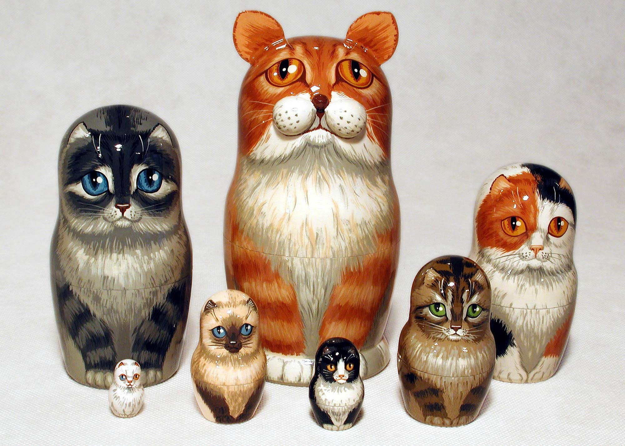 Orange Tabby Cat Nesting Doll 7pc./8''