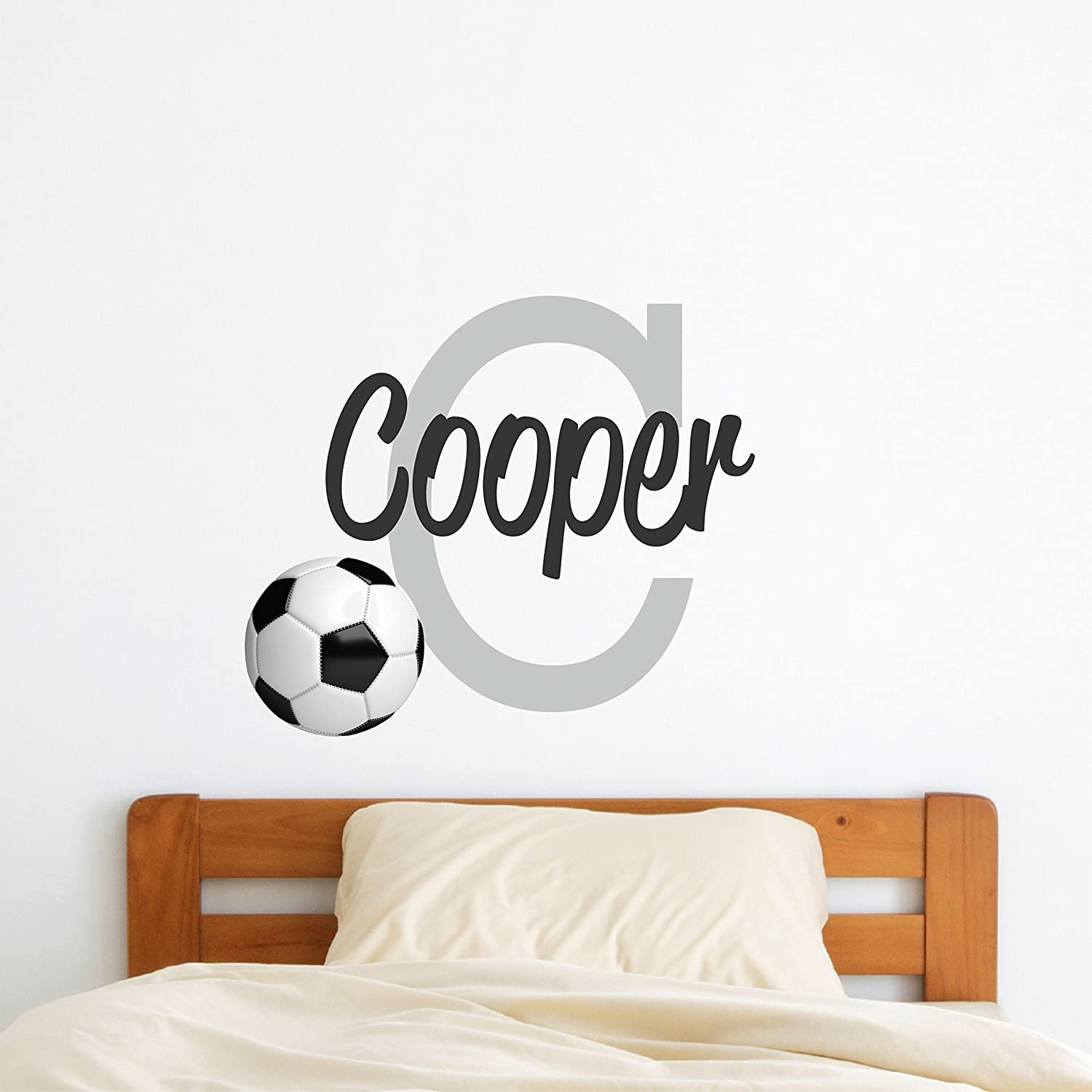 Custom Name Sports Wall Decal - Boys Girls Personalized Name Soccer Sports Wall Sticker - Custom Name Sign - Custom Name Stencil Monogram - Boys Girls Room Wall Decor …