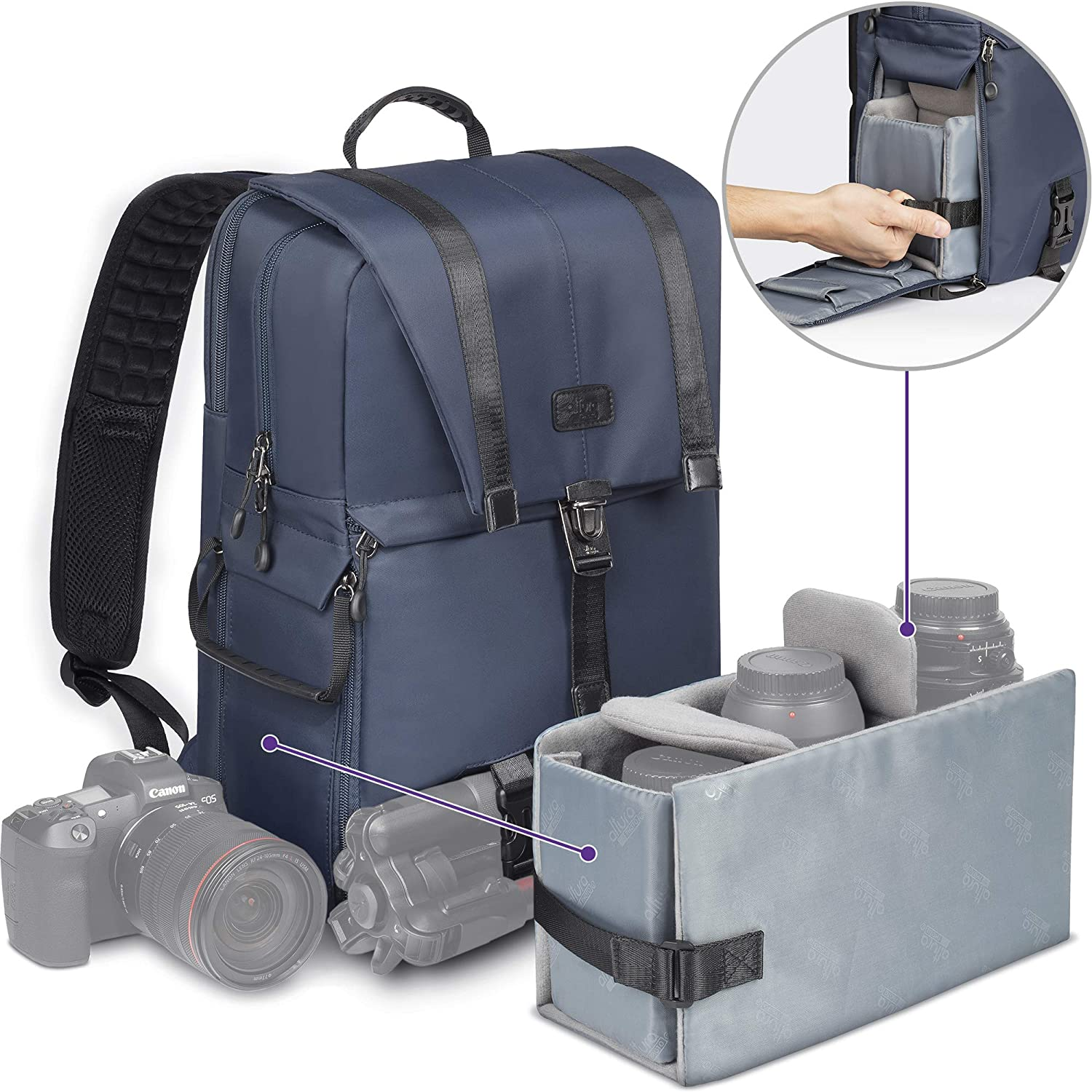 "Altura Photo Navigator Camera Backpack Bag for Sony, Nikon, Canon DSLR/Mirrorless Camera, Fits 17"" Laptop, Lens, Flash, and Accessories, Water Resistant with Tripod Holder"