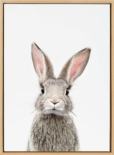 Kate and Laurel Sylvie Female Baby Bunny Rabbit Animal Print Portrait Framed Canvas Wall Art
