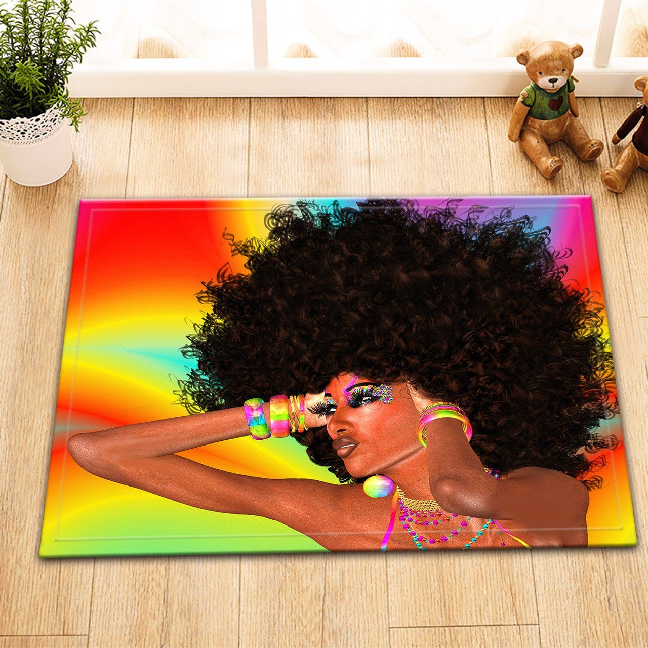 Big Hair,African Black Women_Flannel Floor Mat Non-slip Bath Mat Indoor/outdoor Doormat Rug Kid Bedroom Mat Carpet,40CM x60CM JinShiZhuan