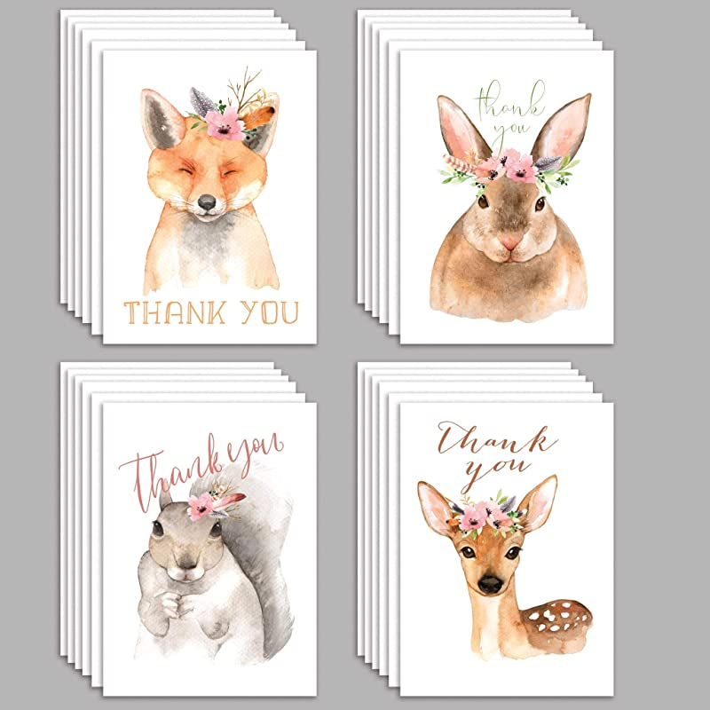 Lot de 5 THANK YOU Cartes de Hallmark 1 Cute Animal Character Design