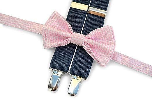 77fffb502f55 Suspenders Bow Tie Set (Boy (7-12 yrs) Navy Suspenders Blush Pattern Bow Tie):  Amazon.in: Clothing & Accessories